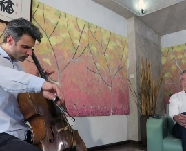 Swiss soloist cello player David Pia visits our string factory in Beijing – May 2017